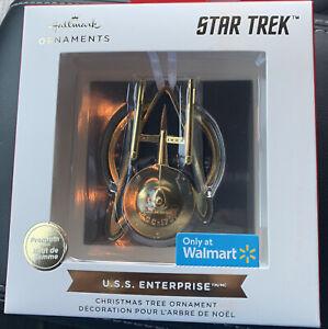 Hallmark Ornaments Premium 2021 Star Trek Gold U.S.S. Enterprise Christmas - NEW