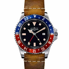 Davosa Vintage-Styled 100-Meter Dual-Time GMT Watch with Leather Band #16250095