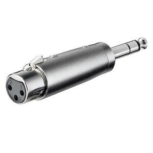 Audio Mikrofon Adapter XLR Kupplung Buchse 3 polig auf 6,3mm Klinke Stecker