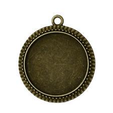 lot de 5 Pendentifs Support pour cabochon 25 mm couleur bronze