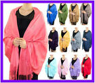 Solid Silk Pashmina Shawl LONG 78X28 Wrap Stole Cashmere Wool Silk Blend Scarf