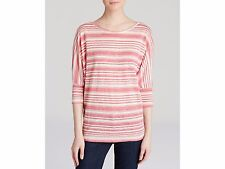 NEW Velvet Womens Linen Slub Striped Pink Pullover Top Shirt Small $108 Z2077
