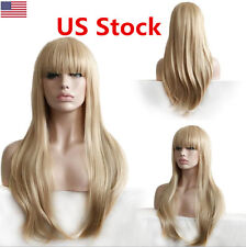 Women Long Straight Wavy Synthetic Lace Front Wig Light Blonde Full Hair Wigs