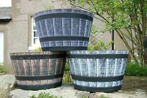 Large Round Barrel Planter Tub Garden Plant Pot Flower Pots Container 40/52cm