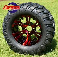 """GOLF CART 12"""" RED-BLK VAMPIRE WHEELS and 22""""x11""""-12"""" AT/MT TIRES (4) EXCLUSIVE"""