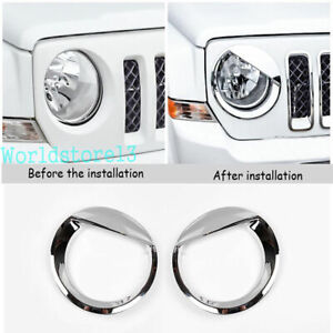 Fit Jeep Patriot 2011-17 Angry Bird Style Headlight Cover Front Lamp Chrome Trim