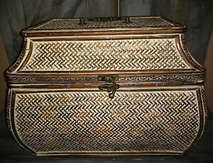 "Vintage look whicker storage chest box  egyptian look RARE VGC 17""L x 12""H x 12"""