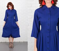 Vintage 50s Navy Blue Dress Pleated A Line Shirtdress wool blend Medium M