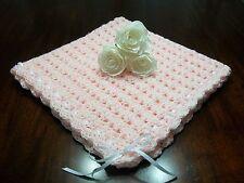 NEW Handmade Crochet Baby Blanket Afghan ( pink white ) Newborn