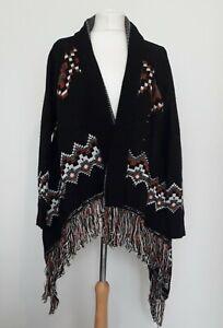 SOUTH Black & Burnt Orange Chunky Knit Waterfall Cardigan Aztec UK 12