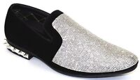 Men's Dress Casual Fancy Shoes Slip On Loafers Silver/Black Rhinestones Smokers