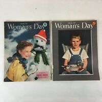 Lot of 2 Vintage 1949 Woman's Day Magazines Food, Fashion, DIY, Articles, & Ads