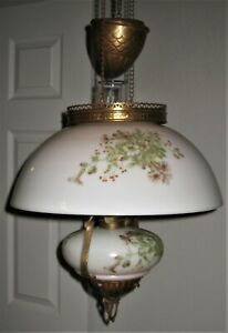 Antique Hanging OIL LAMP w/ Brass Covered Weight & Matching Shade & Font