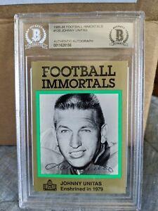 1985-88 Football Immortals Johnny Unitas #120 Beckett Certified Autographed 🔥🏈