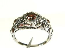 .36ctw Natural Round Cut Garnet Victorian Deco Sterling Floral Filigree Ring s7