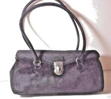 NEW Suzanne Somer's BLACK Faux Fur/Suede FOLD OVER SATCHEL Bag Tote PURSE $149