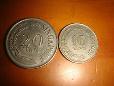 Singapore 1972 20-Cent & 1982 10-Cent, Cupro-Nickel 2 pieces decent circulated