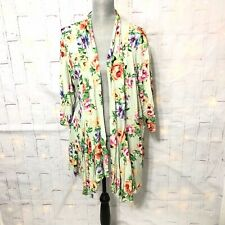 J Mode Size 2X/3X Mint Green Floral Open Style Knit Stretch Lightweight Top