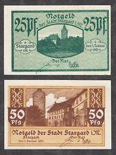 Stargard in Meckl. -Stadt-  Notgeldscheine zu 25 Pf. und 50 Pf. vom 1.01.1921
