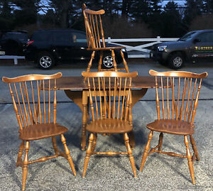 Heywood Wakefield Dining Table Chairs Winthrop Windsor Style Maple Need Refinish