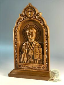 """8.5"""" Religious Wood Carved Icon St Nicholas Middle Gift Believe Soul Peace Pray"""