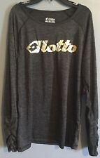 Lotto Womens Workout Top Shirt Running Size Large L Gray Black Gold Long Sleeve
