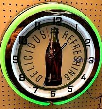 """18"""" Delicious and Refreshing Coke Bottle Sign Double Neon Clock Coca-Cola"""