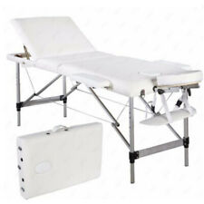 New Aluminum 3 Fold Portable Massage Table Facial Spa Bed Tattoo White w/Case