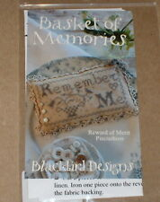 "Blackbird Designs ""Basket of Memories"" Pincushion Cross Stitch Pattern NIP"