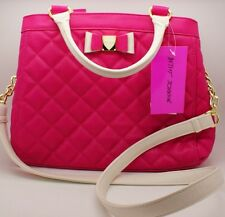 Betsey Johnson Women Dome Shaped Quilted Satchel Shoulder Handbag Fushia Bow NWT