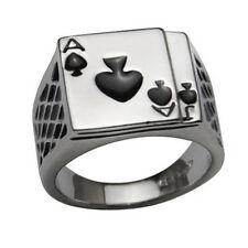 Men's 18K White Gold Plated Cool Enamel Spades Poker Ring Finger Jewelry Nicely