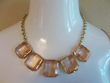 J.CREW CLASSIC CUBIC CLEAR PINK NECKLACE