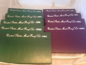 1990 - 1998 Nine Annual United States Mint Proof Sets  45 Coins With Box And COA