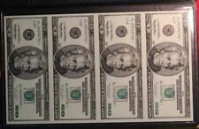 4-Uncirculated 1996 U.S. $20 Star Notes Uncut Sheet