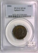 1804 Half Cent PCGS XF-40; Spiked Chin; C-6, Manley 10.0