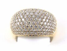 Fine Wide Cluster Diamond Pave Dome Cigar Ring Band 18k Rose Gold 3.39Ct