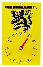 NEW CYCLE CLOCK FACE SIGN - GONE RIDING BACK AT - LION OF FLANDERS - ROAD BIKE