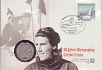 Numisbr.: BRD,60 J. Olympiasieg Christl Cranz, m. 5RM,1936 A, ohne, Silb.900,vz-