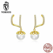 Authentic S925 Sterling Silver Gentle Pearl Silicon Earrings For Women VOROCO