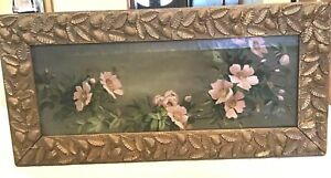 RARE~19c PINK WILD ROSES OIL PAINTING + Carved Strawberry Berry Wood Frame~Grant