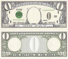 100 Zero Dollar Nada Bucks Prank Fake Money Bills Lot