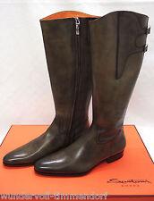 630€ NEU SANTONI Designer Leder Stiefel Gr.41.5- 42 Boots Braun Schlamm 1031