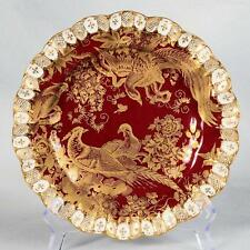 "ROYAL CROWN DERBY PLATE - PARADISE, MAROON & GOLD APPROX. 8-5/8"" DIA."