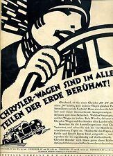 Chrysler--Chrysler Wagen sind in allen Teilen der Erde Berühmt -Werbung von 1927