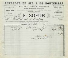 Invoice - Warehouse of Salt & Bottles a. S. E. a. N.Sister to Fayl-Billot - 1905