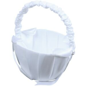 2X(White Satin Beaded Wedding Flower Girl Basket Bowk Decor X9Y3)