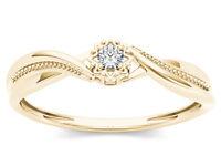 10k Yellow Gold 0.05 Ct Natural Diamond Engagement Fashion Ring