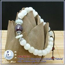 Lotusmind Natural Moonstone 8mm wrist mala Ruby 925S