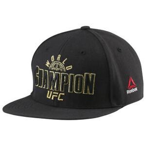 REEBOK UFC WORLD CHAMPION GOLD BADGE SNAPBACK BLACK BASEBALL CAP New
