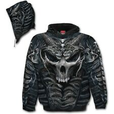 SKULL ARMOUR - Allover Hoodie Black Gun Horror/Skulls/Biker/Rock